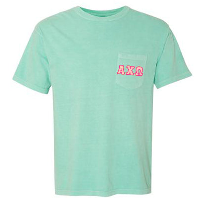 Sorority Comfort Colors Printed T-Shirt with Pocket - Comfort Colors 6030 - DIG