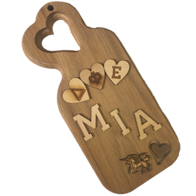 Greek Paddle Package - Sorority Small Slanted Heart Plaque