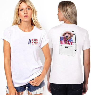 Sorority Patriotic Puppy Design Printed T-Shirt - Jerzees 21MR - SUB