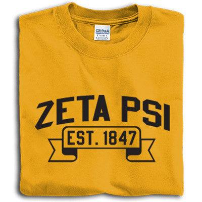 Zeta Psi Vintage Football Printed T-Shirt - Gildan 5000 - CAD