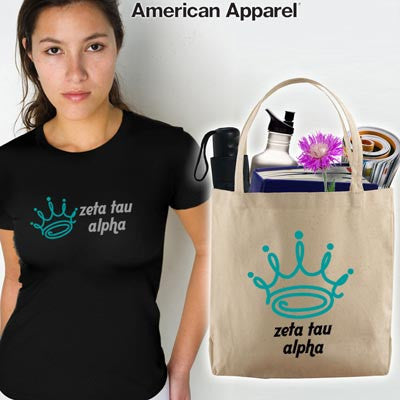Zeta Tau Alpha Mascot Printed Tee and Tote - CAD