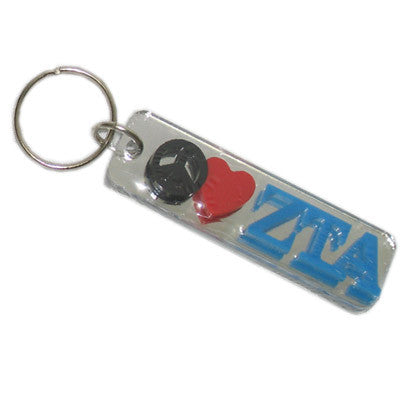 Zeta Tau Alpha Peace Love Keychain - Craftique cqPLKC