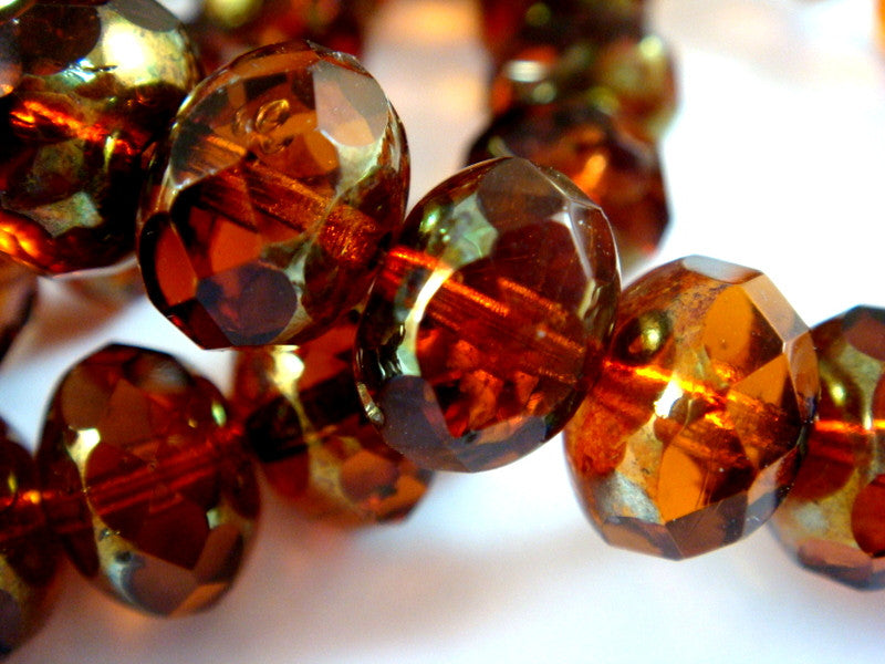 Amber Rondelles, Czech Glass Dark Brown Beads with Brass Picasso 10x6mm - 10 pcs. - G6059-AMP10