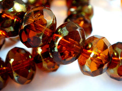 10mm Amber Faceted Transparent Glass Rondelles