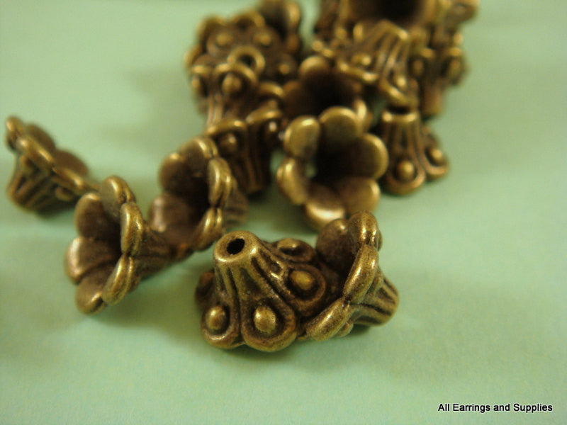 10mm Antique Bronze Bell Flower Bead Caps
