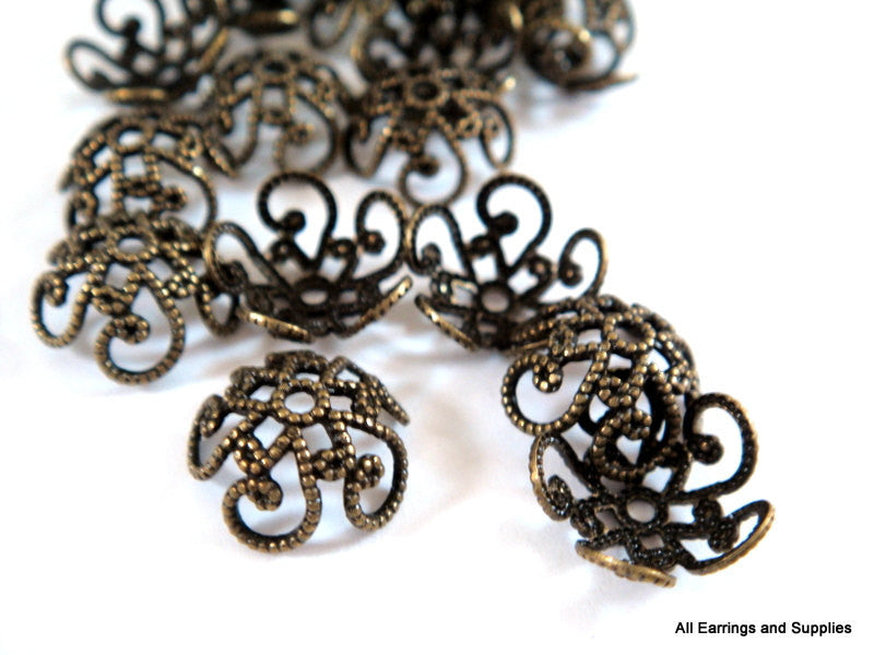 10mm Antique Bronze Domed Filigree Bead Caps