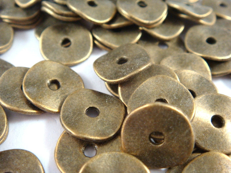 10mm Antique Bronze Wavy Disk Spacers