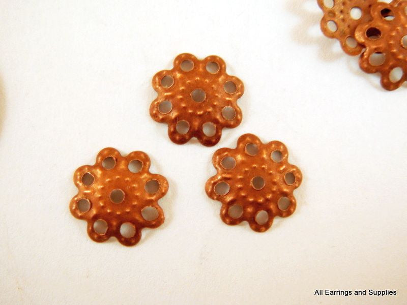 Antique Copper Bead Caps, Filigree Red Flowers NF 10mm - 25 pcs. - F4072BC-AC25