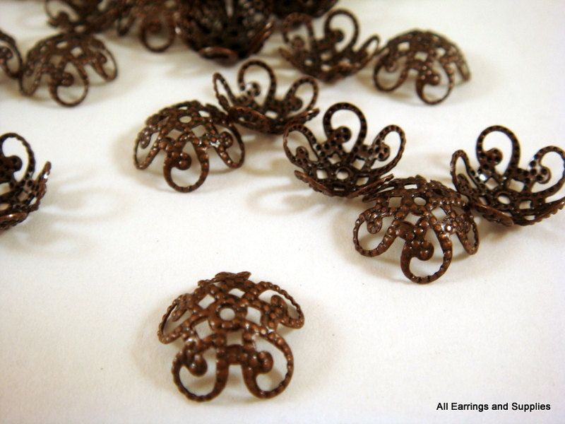 10mm Antique Copper Domed Scrolled Filigree Bead Caps