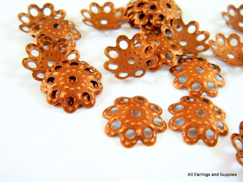 Antique Copper Bead Caps, Filigree Red Flowers NF 10mm - 100 pcs. - F4072BC-AC100