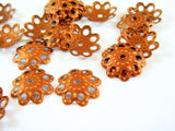 10mm Antique Copper Open Flower Bead Caps