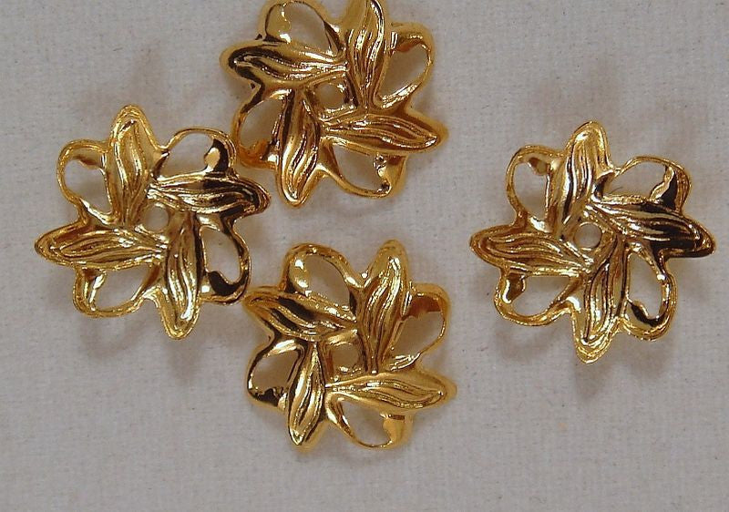 Gold Bead Caps, Filigree Flowers Leaves 10mm - 25 pcs. - 1225-10