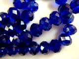 10x8mm Faceted Blue Glass Rondelles
