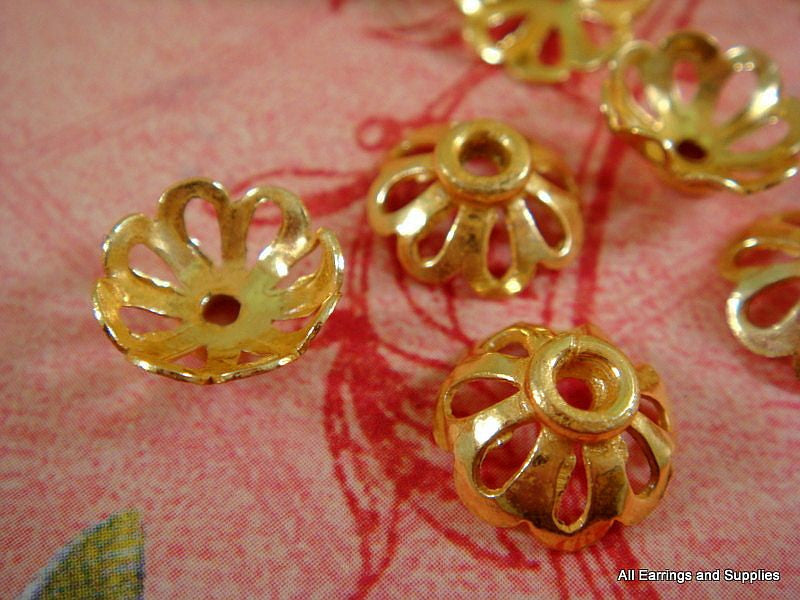 Gold Bead Caps, Round Cut Out Flowers, Plated Solid Copper 11x4mm - 10 pcs. - 6014-11