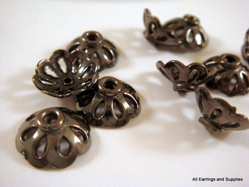 Gunmetal Bead Caps, Round Black Cut Out Flowers, Plated Solid Copper 11x4mm - 10 pcs. - 6016-11