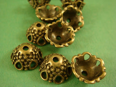 12mm  Antique Brass Domed Bead Caps