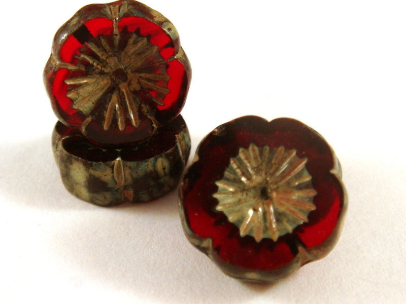 Garnet Pansy, Czech Glass Dark Red Round Picasso Flower Beads 14mm - 6 pcs. - G6056-RGP6