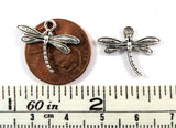 17mm Double Sided Antique Silver Dragonfly Charms