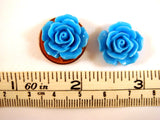 17mm Light Blue Acrylic Resin Rose Cabochons
