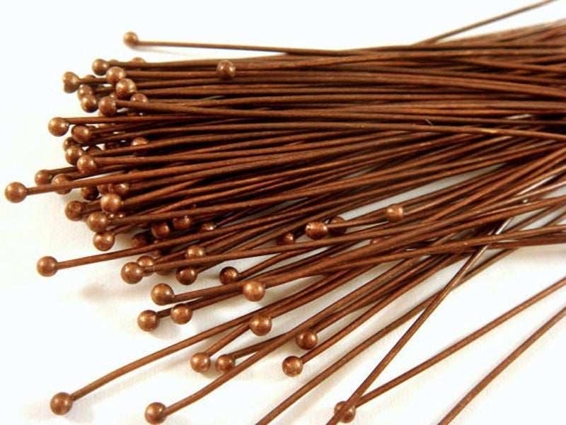 Ball Pins, Antique Copper Finished Brass, 2 in./50mm, 23-24g - 100 pcs. - F4028BHP-AC2100