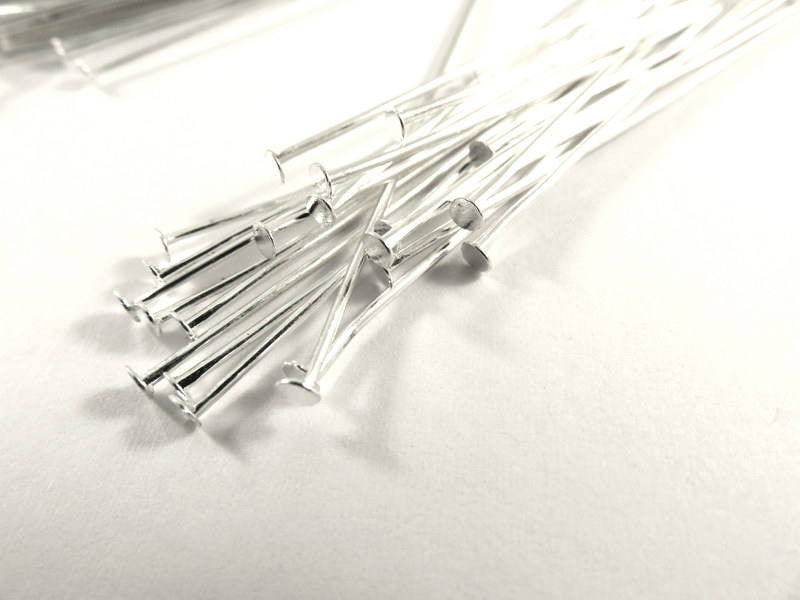 Flat Headpins, Silver Plated Iron, 2 in./50mm, 18-20g - 100 pcs. - F4001HP-S2100