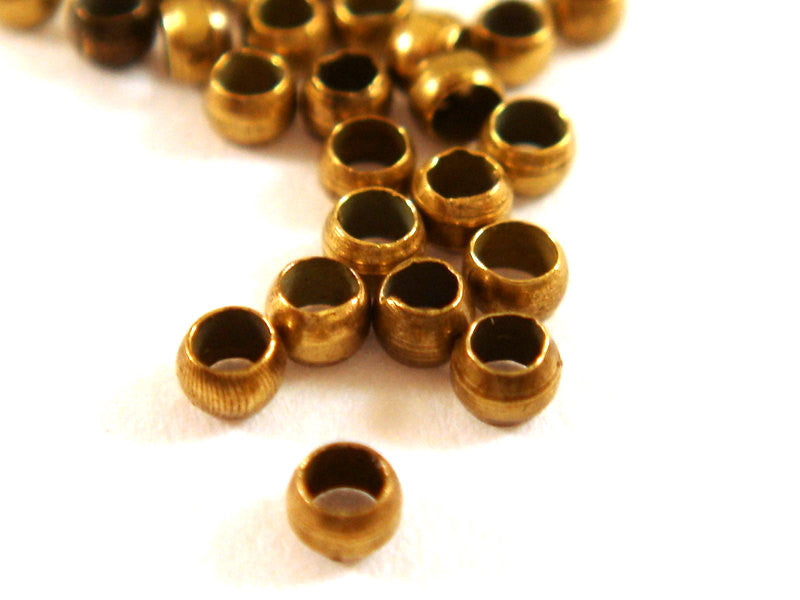 Antique Bronze Crimp Beads, Plated Brass Barrel NF 2mm - 200 pcs. - F4022CB-AB200