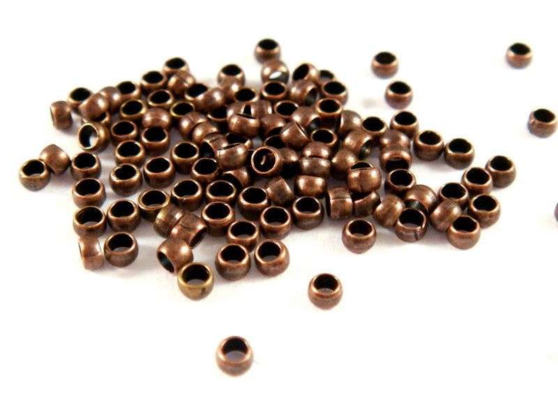 Antique Copper Crimp Beads, Plated Brass Barrel NF 2mm - 200 pcs. - F4022CB-AC2mm200