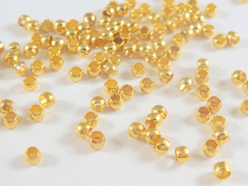 2mm Gold Plated Brass Crimp Beads