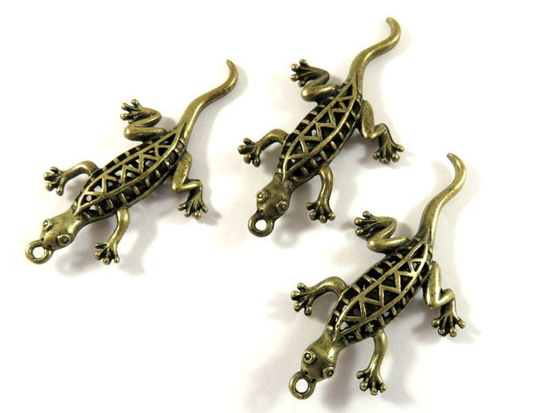 Antique Bronze Pendants, Double Sided Geckos Southwest Style Drops 3D Lizards 51x26mm - 3 pcs. - DC3026-AB3