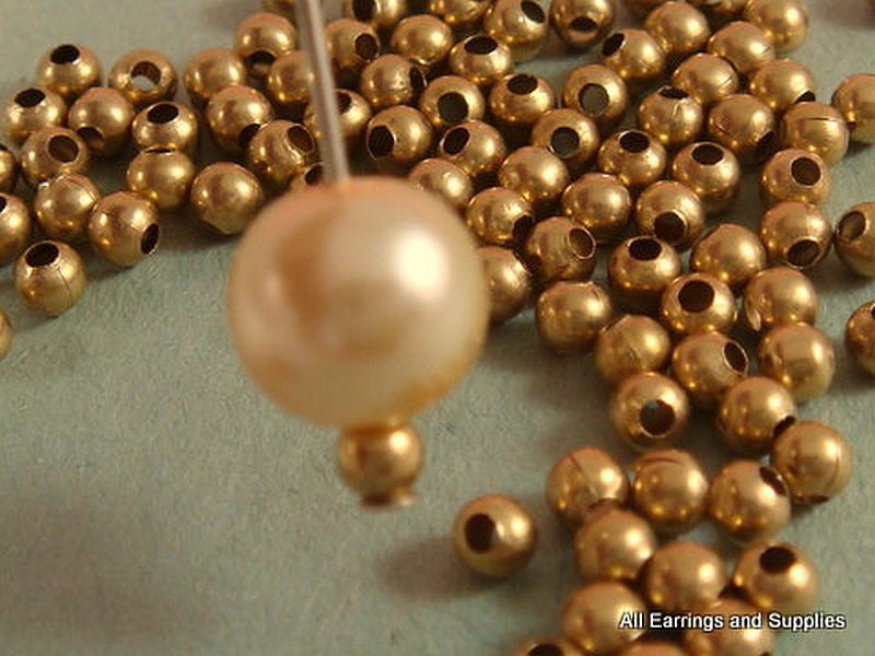 3mm Round Raw Brass Beads