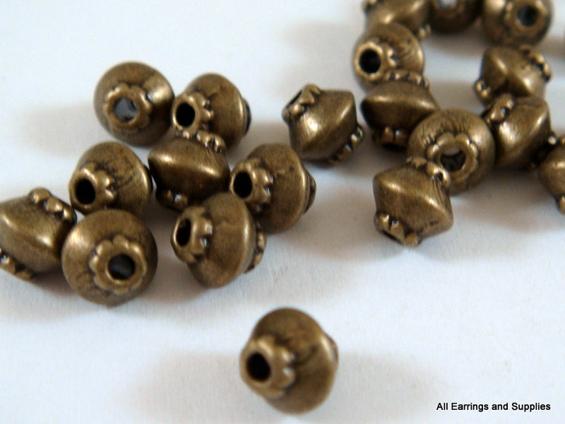Antique Bronze Beads, Tiny Rustic Bicone Plated Metal Spacers 4mm - 25 pcs. - M7044-AB25