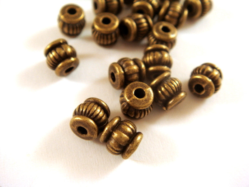 Antique Bronze Beads, Ribbed Lantern Barrel Plated Metal Spacers 4.5x4.5mm - 25 pcs. - M7059-AB25