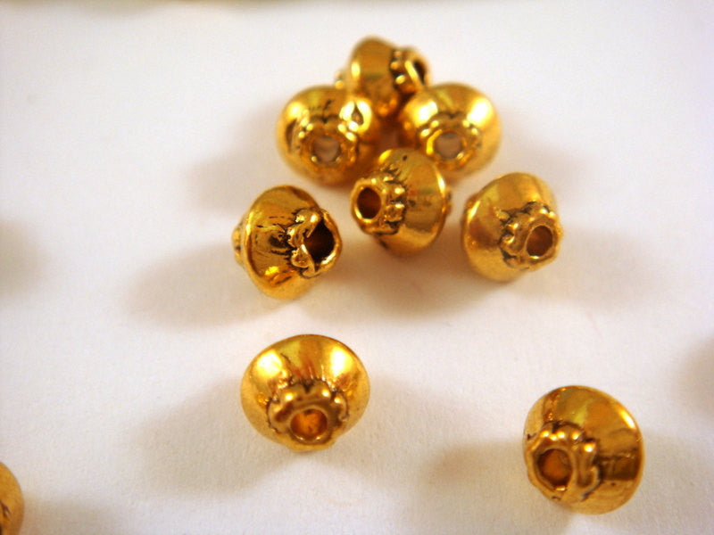 Antique Gold Beads, Tiny Rustic Bicone Plated Metal Spacers 4mm - 25 pcs. - M7044-AG25