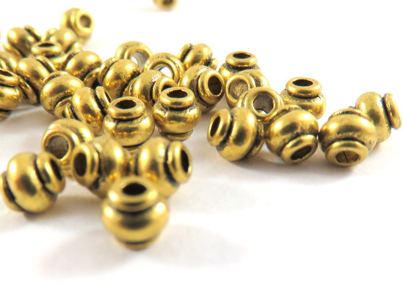 Antique Gold Beads, Lantern Barrel Plated Metal Spacers LF/CF approx. 4.5mm - 50 pcs. - M7069-AG50