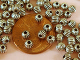 4mm Antique Silver Corrugated Melon Spacers
