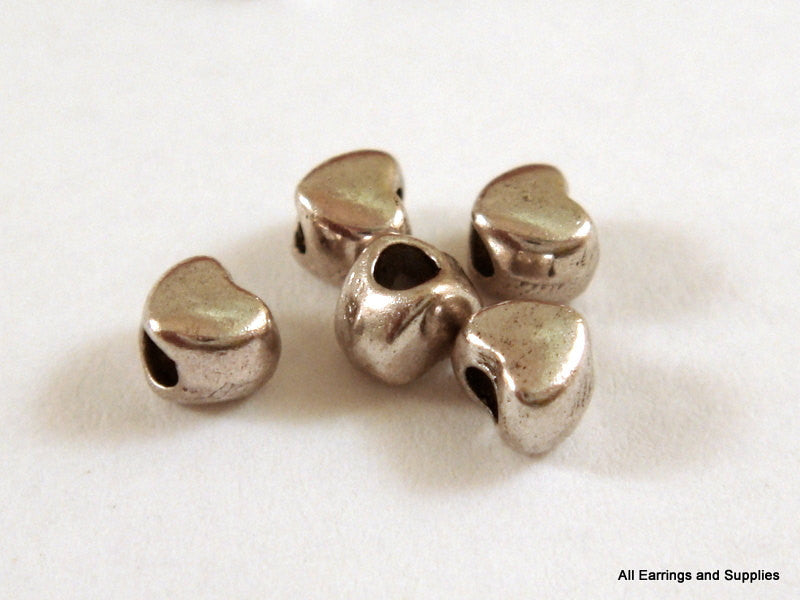 Antique Silver Beads, Tiny Heart Shape Plated Metal Spacers LF/NF 4x3.5mm - 50 pcs. - M7020-AS50