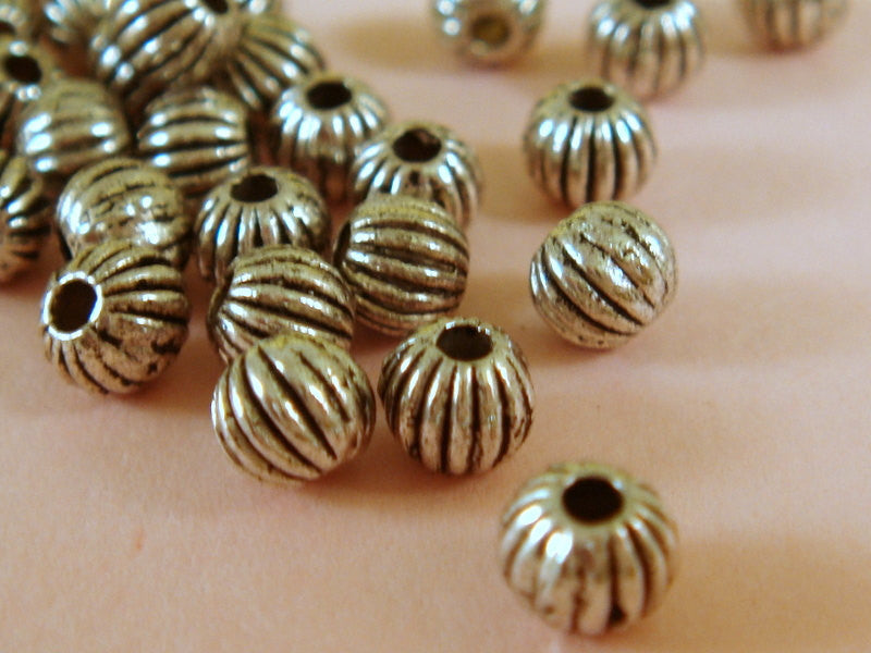 Antique Silver Beads, Round Ribbed Melon Plated Metal Spacers LF/NF/CF 4mm - 100 pcs. - M7009-AS100