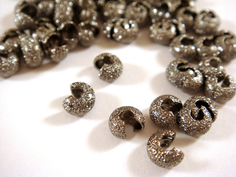 Black Crimp Bead Covers, Stardust Gunmetal Plated Brass 4mm - 60 pcs. - 6273