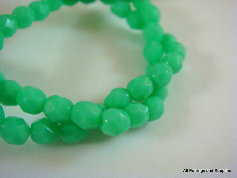 4mm Faceted Bright Green Czech Glass Beads