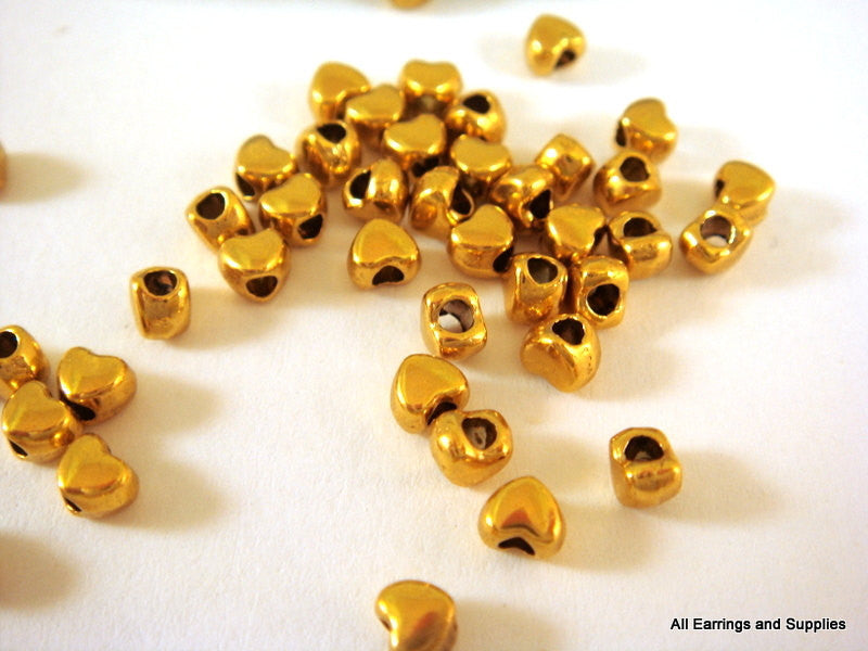 Gold Beads, Tiny Heart Shape Plated Metal Spacers LF/NF 4x3.5mm - 50 pcs. - M7020-G50