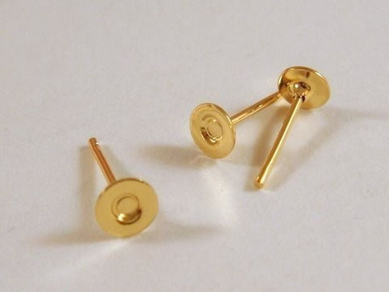 Post Earring Studs, Gold Plated Brass, 4mm Glue Pad - 20 pcs. - F4169ES-G20