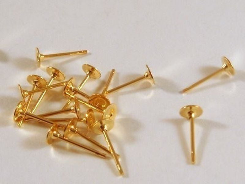 4mm Gold Plated Brass Post Earring Studs