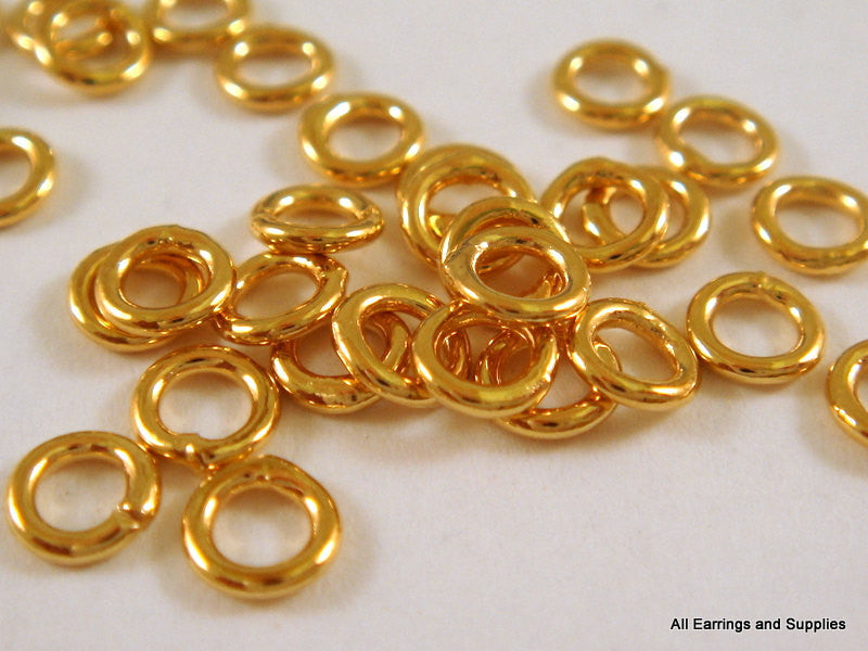 Closed Soldered Jump Rings, Gold Plated Round Brass 4mm 20g - 50 pcs. - 5817-5