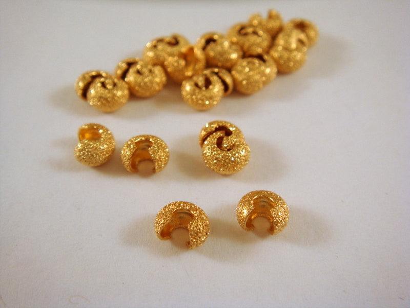 4mm Gold Stardust Brass Crimp Bead Covers