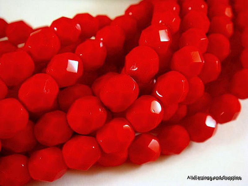4mm Opaque Red Faceted Glass Beads