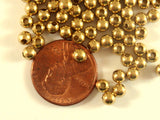 4mm Raw Unplated Brass Round Ball Spacer Beads