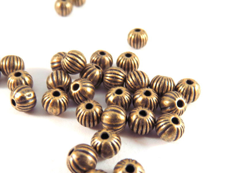 Antique Copper Beads, Round Ribbed Melon Plated Metal Spacers LF/NF/CF 4mm - 100 pcs. - M7009-AC100