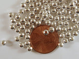 4mm Silver Plated Round Ball Spacer Beads