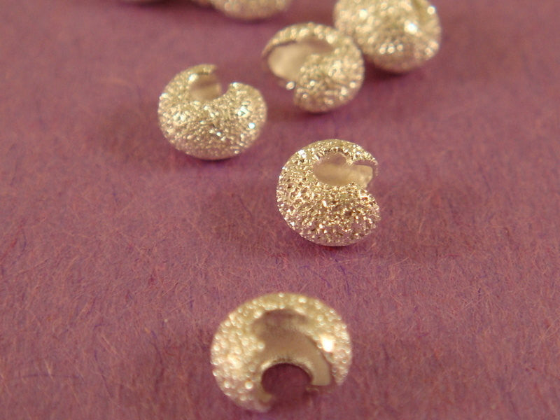 Silver Crimp Bead Covers, Stardust Plated Brass 4mm - 25 pcs. - 5543
