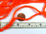 4x3mm Bright Orange Translucent Faceted Glass Rondelle Beads